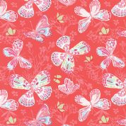 Moda Aria by Kate Spain - 4546 - Butterflies on Deep Coral  - 27230 11 - Cotton Fabric